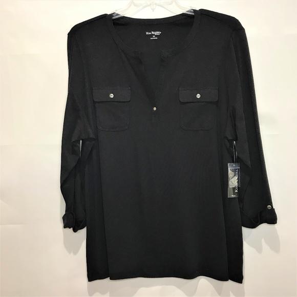 Kim Rogers Tops - (SOLD)Kim Rogers Top 2X Black V-Neck 3/4 Sleeves